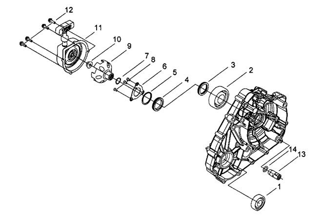 Двигатель (Крышка левого