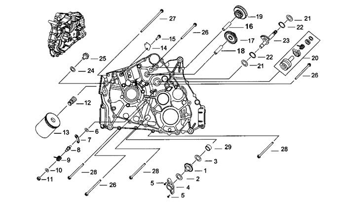 Двигатель (Картер левый)